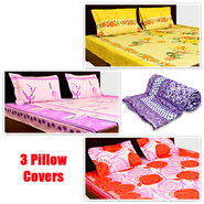 Korean 3 Designer Printed Double Bed Sheets + 9 Pillow Covers + Jaipuri Quilt