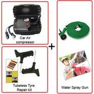 Combo Of Air Compressor + Tyre Repair Kit + Spray Wash Pipe Gun