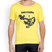 Incynk Half Sleeves Printed Cotton Tshirt For Men_Mht206yl - Yellow