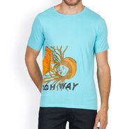 Incynk Half Sleeves Printed Cotton Tshirt For Men_Mht209aq - Aqua