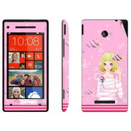 Snooky 38964 Digital Print Mobile Skin Sticker For HTC 8X - Pink