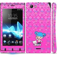 Snooky 39663 Digital Print Mobile Skin Sticker For Sony Xperia J - Pink