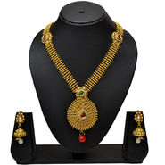 Pourni Traditional Golden Finishing Long Necklace Set With Stunning Earring_Prnk12