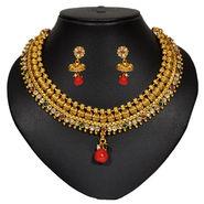 Pourni Cubic Zircon & Color Stone Brass Necklace Set_Sdnk3800