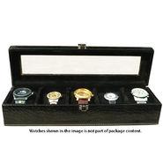 5 Slot Leatherette Vintage Vogue Art Watch Organiser_ADWB0000139 - Black