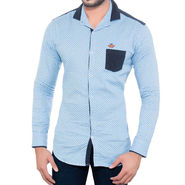 Brohood Slim Fit Full Sleeve Cotton Shirt For Men_A5069 - Blue