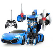 2 in1 Remote Control Robot cum Police Toy Car- Blue