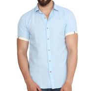 Branded Linen Casual Shirt_Zara02 - Light Blue