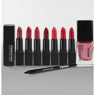 Combo Of 8 Lipstick Shades, 1pcs Eye Kajal and 1pcs Nail Paint