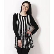 Yellow Tree Designer Woolen Black & White Full Sleeves Tunic_Yt06