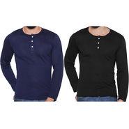 Pack of 2 Rico Sordi Full Sleeves Cotton Henley Tshirts_Rsh0104 - Black & Navy