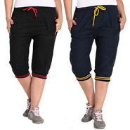 Pack of 2 Fizzaro Cotton Capris For Women_Fzgcbkrby - Black & Blue