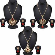 Combo of 3 Filligeri Designer Pendant Set Studded with Color Stone_Cm395