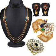 Spargz Peacock Antique Traditional Collection Jewellery Set with Kada & Ring_Cm562