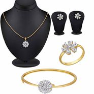 Spargz Beautiful Floral CZ Stone Gold Plated Pendant Set Kada & Studded Ring_Cm502