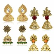Spargz Combo of 4 Pair Traditional Look Gold Plating Kundan Jhumki Earrings_Cm531