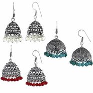 Spargz Combo of 3 Pair Mulicolor Bead Silver Oxidized Jhumki Earrings_Cm558