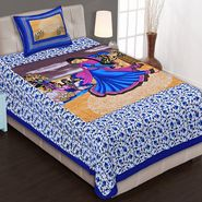 Priya Fashions Cotton King Size Jaipuri Printed 1 Single Bedsheets With 1 Pillow Covers-70X100B6