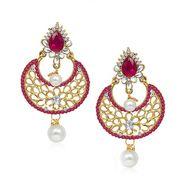 Kriaa Austrian Diamond Kundan Pearl Drop Earrings _1304524