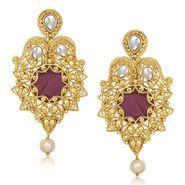 Kriaa Resin Kundan Pearl Drop Finish Earrings _1305427