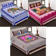 Set of 3 Jaipuri Cotton Double King Size Bedsheets With 6 Pillow Covers -100C14