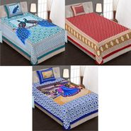 Set of 3 Jaipuri Cotton Single King Size Bedsheets With 3 Pillow Covers -100C6