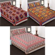 Set of 3 Jaipuri Cotton Double King Size Bedsheets With 6 Pillow Covers -108C5