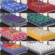 Set of 8 Jaipuri Cotton Printed 4 Double 4 Single Bedsheet With 12 Pillow Cover-4D4S84X90B4