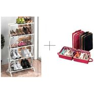 Buy 5 Tier Foldable Stainless Steel Shoe Rack With Shoe Tote - 5TRWSTSR