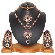 Vendee Fashion Kundan Floral Necklace Set - Purple _ 8463