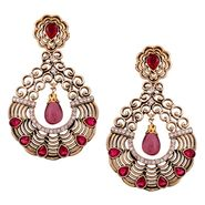 Vendee Fashion Glass Drop Textured Earrings - Pink & Golden _ 8531