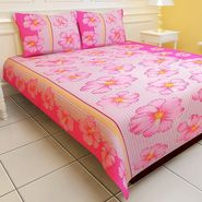 Carah White And Pink Color Floral Bedsheet With Two Pillow Covers (CRH-DB110).