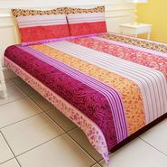 Carah Multi Colored Striped Double Bedsheet With Two Pillow Covers (CRH-DB112).