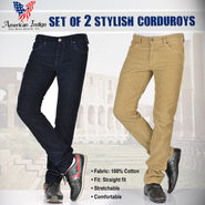 American Indigo Set of 2 Stylish Corduroys