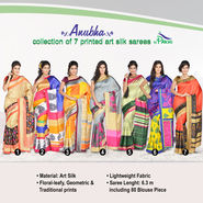 Anubha Collection of 7 Printed Art Silk Sarees by Pakhi (7A14)
