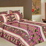 Bazar Villa Cotton King Size Double Bed Sheet with 2 Pillow Cover - Multicolor- RCA2126