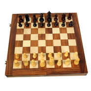 AVM 18inch Folding Chess Board Set (2.5 inch Border, Brown Yellow)