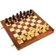 AVM 14inch Folding Chess Board Set (2 inch Border, Brown Yellow)