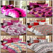 Set of 6 100% Cotton Double Bedsheet With 12 Pillow Cover - CN_12-43-66-05-60-70-22