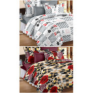 Set Of 2 Double Bedsheet With 4 Pillow Cover-CN_1229-CN1261