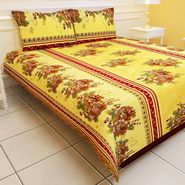 Carah Exclusive Yellow Colour  Double Bedsheet With Two Pillow Covers-CRH-DB113