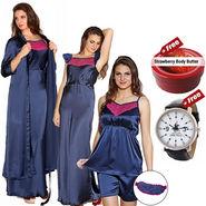 Set of 5 Clovia Satin Nightwear - Navy Blue