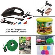Car Care kit - Car Air Compressor cum Vacuum Cleaner + 10Mtr Hose Pipe + Puncture Repair KIT + Micro Fiber Glove + Liboni Air Freshener