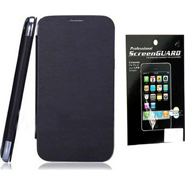 Combo of Camphor Flip Cover (Black) + Screen Guard for Micromax A67