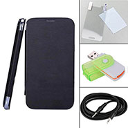 Combo of Camphor Flip Cover (Black) + Screen Protector for Sony Xperia E + Aux Cable + Multi Card Reader