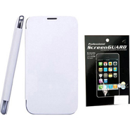 Combo of Camphor Flip Cover (White) + Screen Guard for Micromax A34