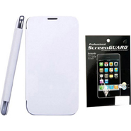 Combo of Camphor Flip Cover (White) + Screen Guard for Micromax A36