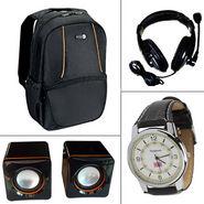 Combo of Laptop Backpack + Multimedia Speakers + Headphones + Wrist Watch