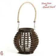 Aapno Rajasthan Brown Basket Design Lantern Tealight Holder with a Rope handle