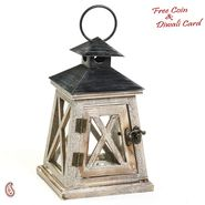 Textured Wood Light House Lantern with Hinge Door